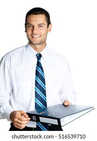 Portrait of happy smiling businessman with black folder, isolated against white background. Success in business, job and education concept studio shot.