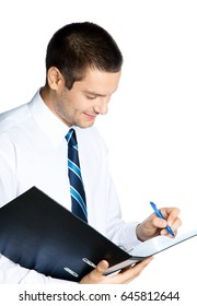 Portrait of happy smiling businessman with black folder, isolated on white background. Success in business, job and education concept shot.
