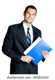 Portrait of happy smiling businessman with blue folder, isolated on white background. Success in business, job and education concept shot.