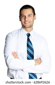 Portrait of happy smiling businessman with crossed arms, isolated on white background. Success in business, job and education concept shot.
