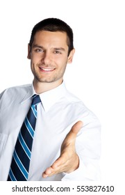 Portrait of happy smiling businessman giving hand for handshake, isolated on white background. Success in business, job and education concept studio shot.