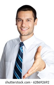 Portrait of happy smiling businessman giving hand for handshake, isolated on white background. Success in business, job and education concept shot.