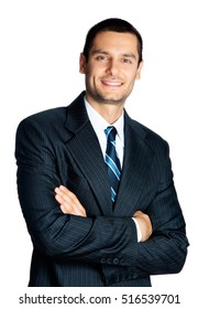 Portrait of happy smiling businessman, isolated against white background. Success in business, job and education concept studio shot.