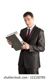 Portrait of happy smiling businessman with thick folder, isolated on white background