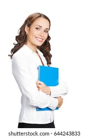 Portrait of happy smiling businesswoman in glasses with blue folder, isolated on white background. Success in business concept.
