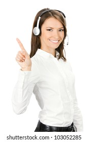 Portrait of happy smiling cheerful customer support phone operator in headset showing something, isolated over white background