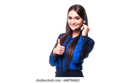 Portrait of happy smiling cheerful customer support phone operator in headset showing thumbs up gesture, isolated
