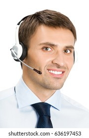 Portrait of happy smiling customer support phone operator in headset, isolated over white background. Consulting and assistance service call center.