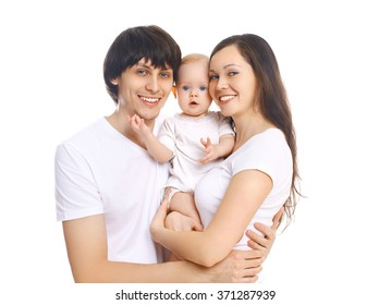Portrait happy smiling family, mother and father with baby on white background
