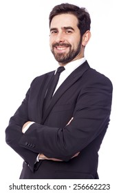 Portrait of a happy smiling handsome business man, isolated on white background