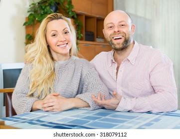 Portrait of happy smiling loving couple indoor