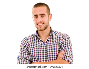 Portrait of happy smiling man, isolated on white background
