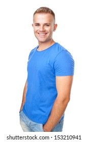 Portrait of happy smiling man standing isolated on white background