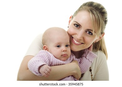 Portrait of a happy smiling mother with her baby girl