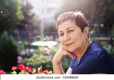 Portrait of happy smiling senior woman