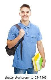 Portrait of happy smiling student with books and backpack isolated on white background