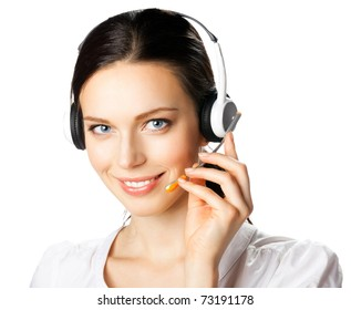 Portrait of happy smiling support phone operator in headset, isolated on white background