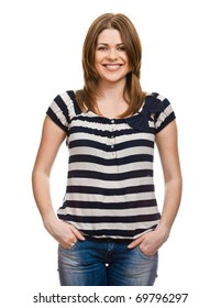 Portrait of happy smiling woman dressed in a striped blouse isolated on  white background
