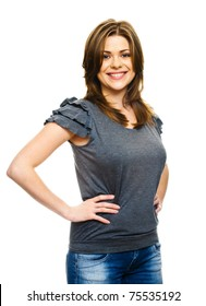 Portrait of happy smiling woman dressed in a gray blouse, Isolated on white background