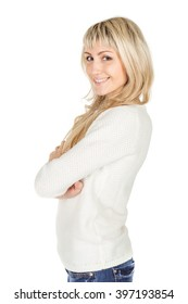 Portrait of happy smiling  woman with folded hands. image on a white studio background.