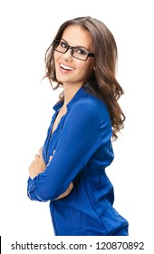 Portrait of happy smiling young business woman in glasses, isolated over white background