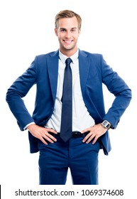 Portrait of happy smiling young businessman in blue confident suit, isolated on white background. Success in business concept studio shot.