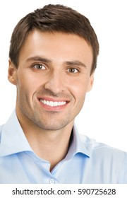 Portrait of happy smiling young businessman, isolated on white background. Business success concept.