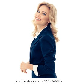 Portrait of happy smiling young businesswoman, isolated over white background. Caucasian blond model in business success concept.