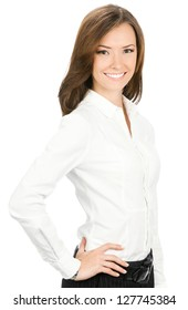 Portrait of happy smiling young cheerful business woman, isolated over white background
