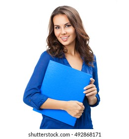 Portrait of happy smiling young cheerful businesswoman with blue folder, isolated over white background. Caucasian brunette model in business concept studio shoot. Square composition.