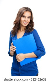 Portrait of happy smiling young cheerful businesswoman with blue folder, isolated over white background. Caucasian brunette model in business concept studio shoot.