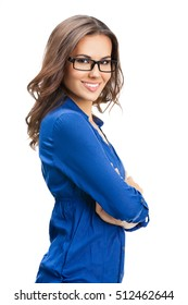 Portrait of happy smiling young cheerful businesswoman in glasses, isolated over white background. Caucasian brunette model in business concept studio shoot.