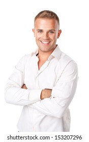 Portrait of happy smiling young man wearing a white shirt isolated on white background