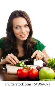 Portrait of happy smiling young woman with vegetarian food, isolated over white background. Healthy eating and weight lossing concept shot.