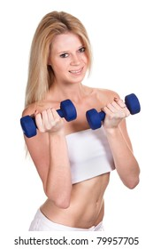 Portrait of a happy sporty woman with a dumbbell on white background