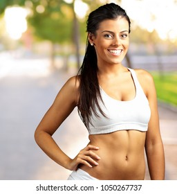 Portrait Of Happy Sporty Woman, outdoor
