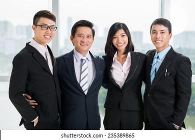 Portrait of happy successful business team