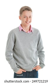 Portrait of happy teenage boy looking at camera, isolated on white
