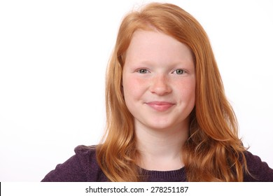 Portrait of a happy teenage girl on white background