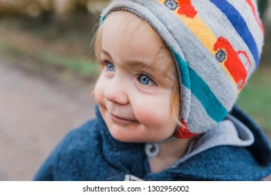 Portrait of happy toddler girl with blue eyes - Kempen, Germany
