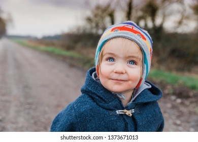 Portrait of happy toddler girl with blue eyes – Kempen, Germany