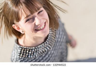 Portrait Of Happy Woman, Outdoors