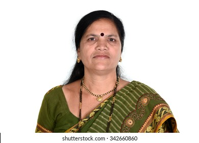 Portrait of happy woman over white background. Portrait of Traditional Indian woman.