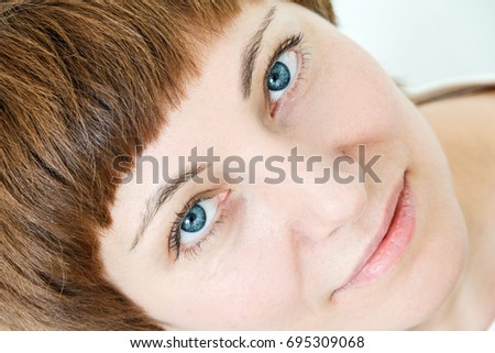 Portrait Happy Woman Short Brown Hair Stock Photo Edit Now