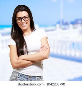 Portrait Of Happy Woman Wearing Eye Glasses, Outdoor