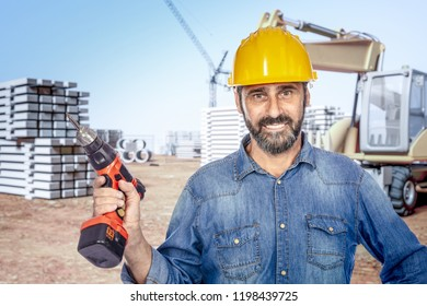 portrait of happy worker in construction site