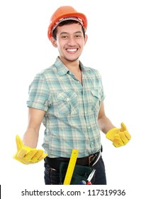 Portrait of an happy worker on white background