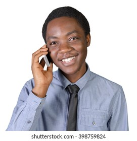Portrait of a happy young african man with a mobile phone