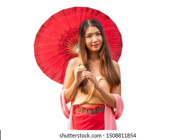 Portrait of happy young Asian woman holding red umbrella. ,clipping path. Cute cambodian girls