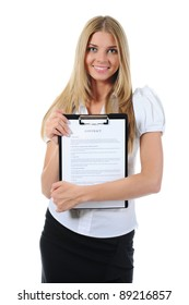 Portrait of a happy young business woman. Isolated on white background